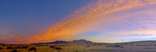 Dawn and our prairie cabin