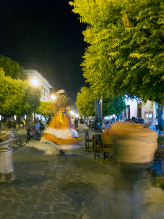 Whirling dervishes beside outdoors dining