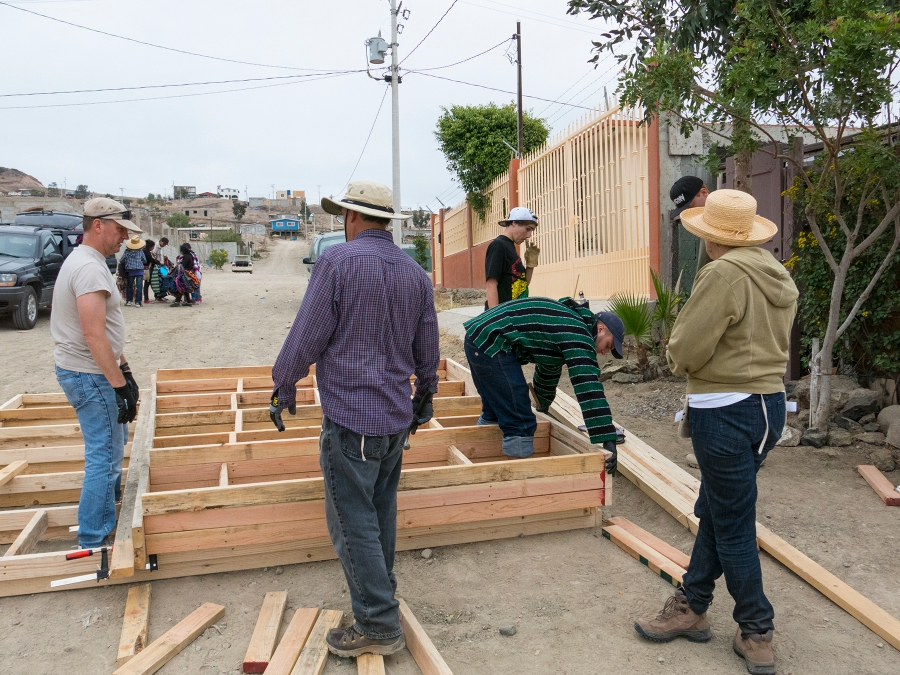 Building the sloping side walls