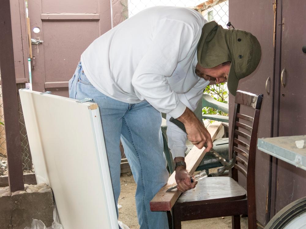 Hinge work on the front door jamb
