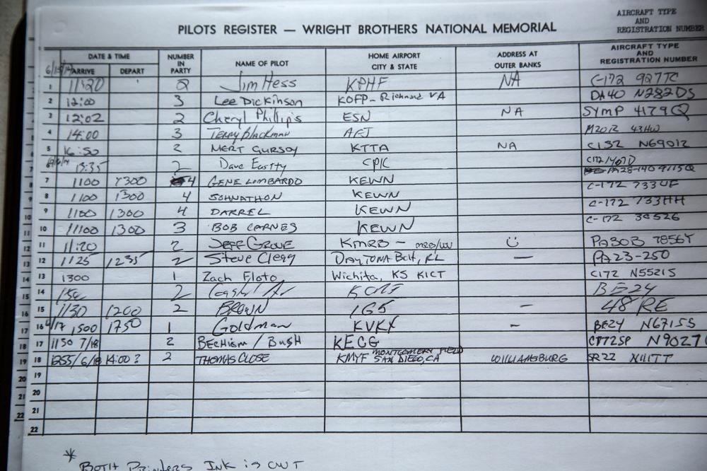 Kitty Hawk pilots' register