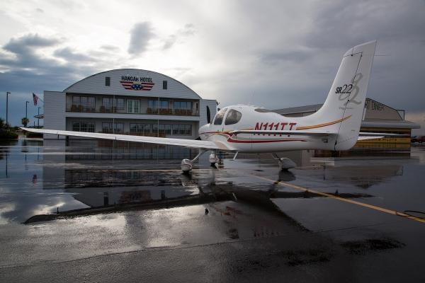 Hangar hotel stormy ramp
