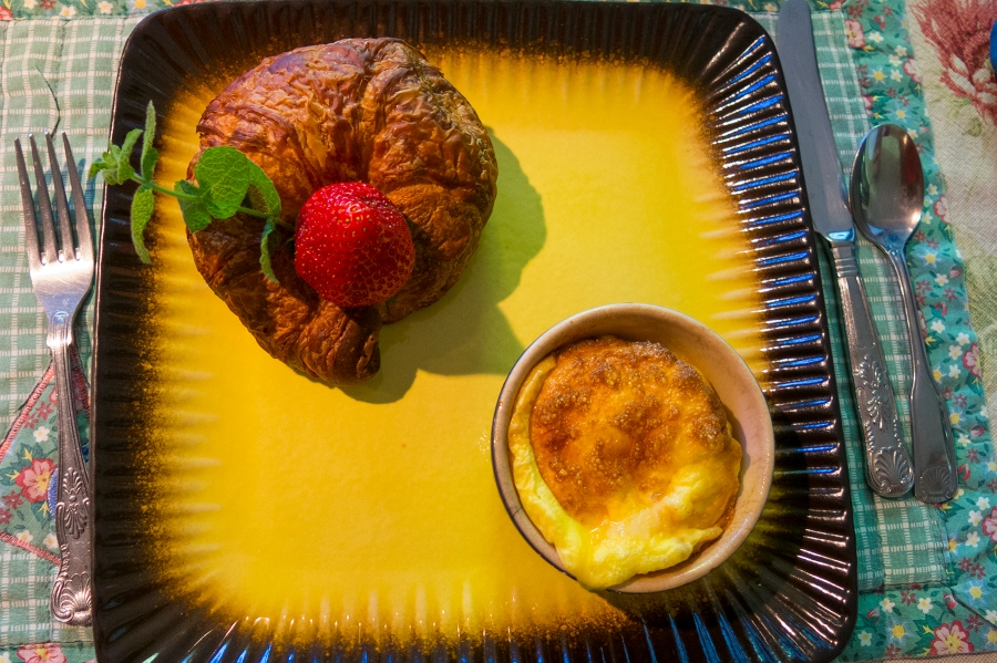 Nicole's breakfast.  All handmade that morning.