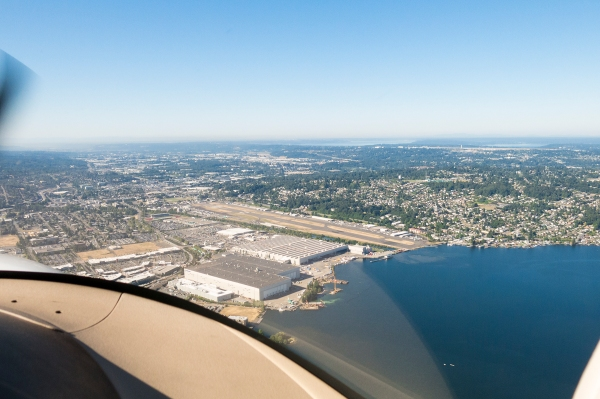 A land plane perspective of Renton Field.
