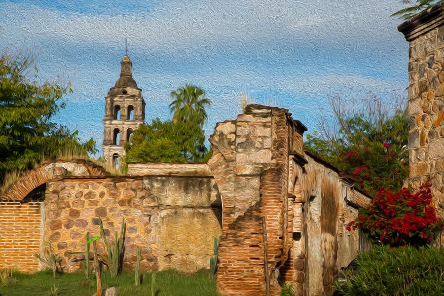 Oil paint effect of Álamos scene