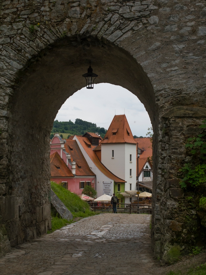 Out of a forest path and through this entrance to Cesky Krumlov