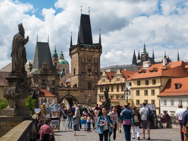 Prague's Charles Bridge west portal