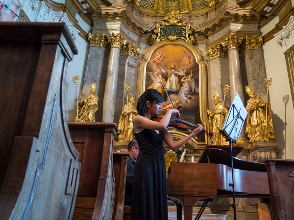 Mozart Sonata for Piano and Violin in C-major. Schlosskirche Mirabell, Salzburg.