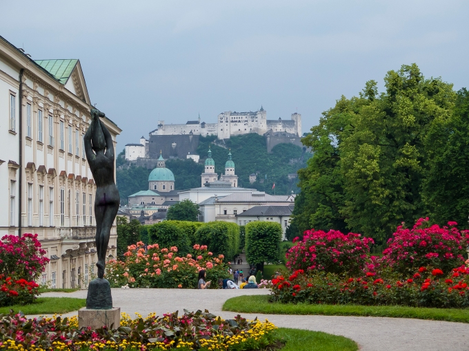 The Salzburg fortress from the Mirabell palace garden