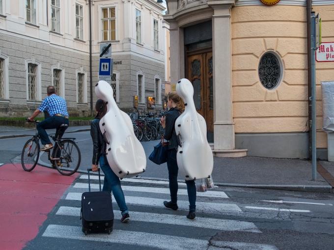 A regular sighting—musicians about town, Salzburg