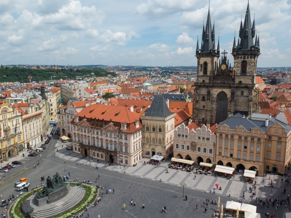 Prague's Old Town Square from the Clock Tower