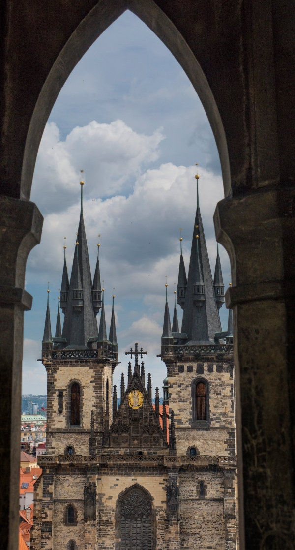 The spires of Our Lady Before Tyn, from the Prague Clock Tower