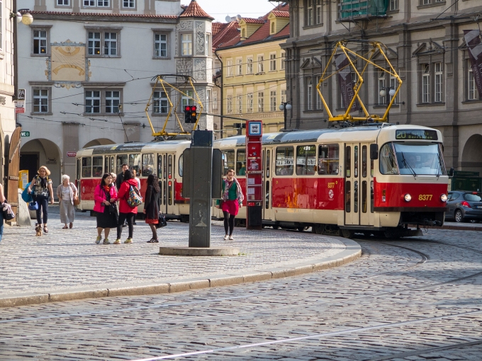 The ubiquitous Prague trolley—at once transportation and cultural icon
