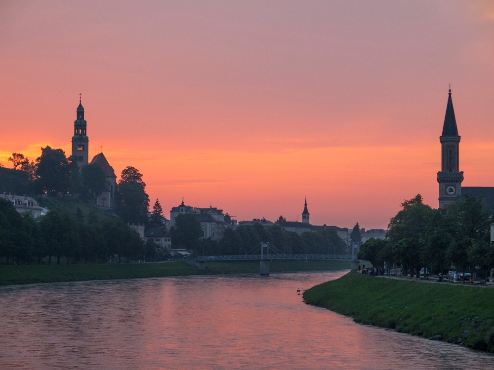 Sunset over Salzburg's Salzach river