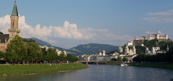 The Salzburg fortress overlooking the Salzach