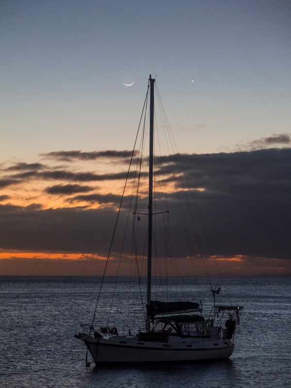 Sailboat as night approaches