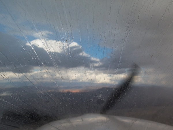 Solid rain washing the windscreen